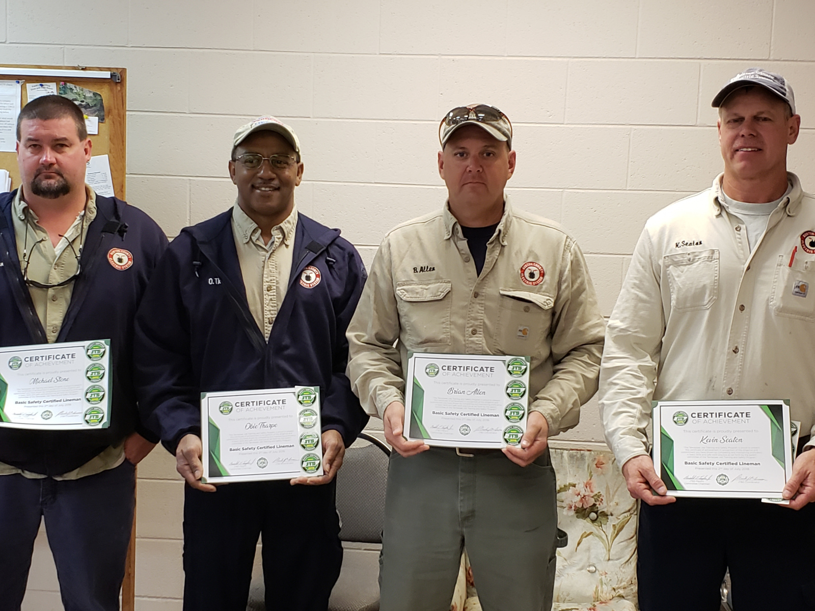 2018 Basic SCL Recipients Michael Stone, Obie Tharpe, Brian Allen, and Kevin Seaton of Benton County Electric