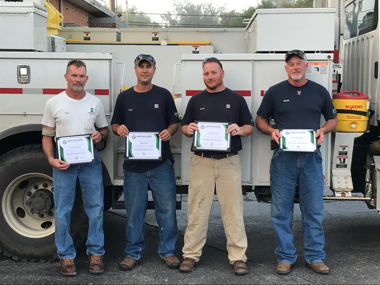 2018 Basic SCL Recipients David Vaughn, Tyler Oaks, Scott Johnson, and Randy Rodgers from Caney Fork Electric Cooperative