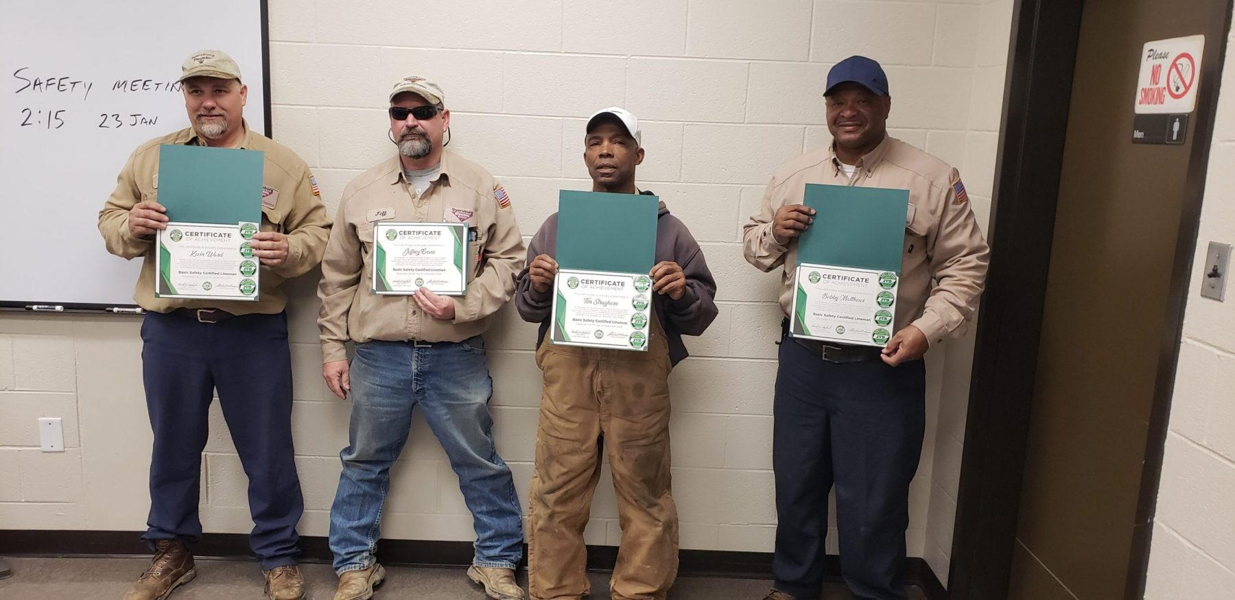 2019 Basic SCL Recipients Kevin Ward, Jeffrey Evans, Tim Strayhorn, and Bobby Matthews from Dyersburg Electric