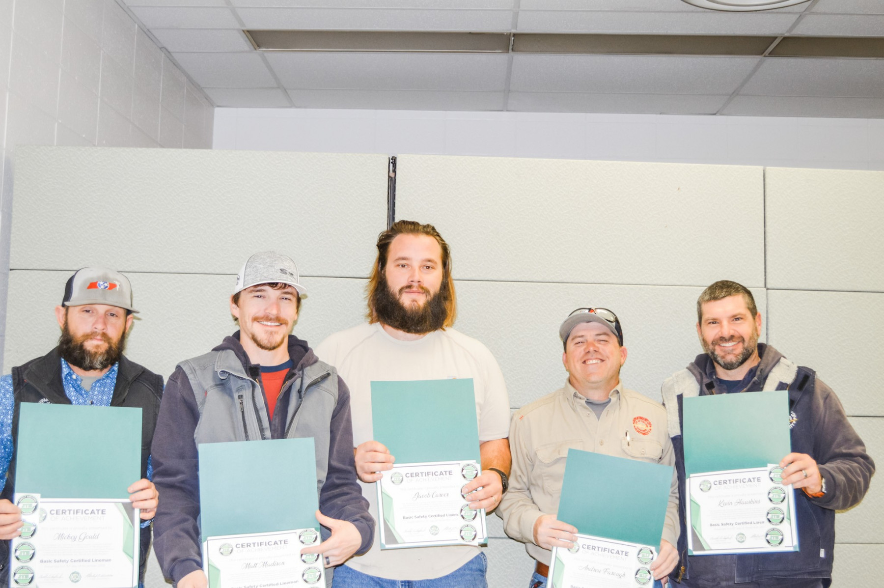 2019 Basic SCL Recipients Mickey Gould, Matt Madison, Jacob Carver, Andrew Farough, and Kevin Hauskins from Gallatin Electric Department