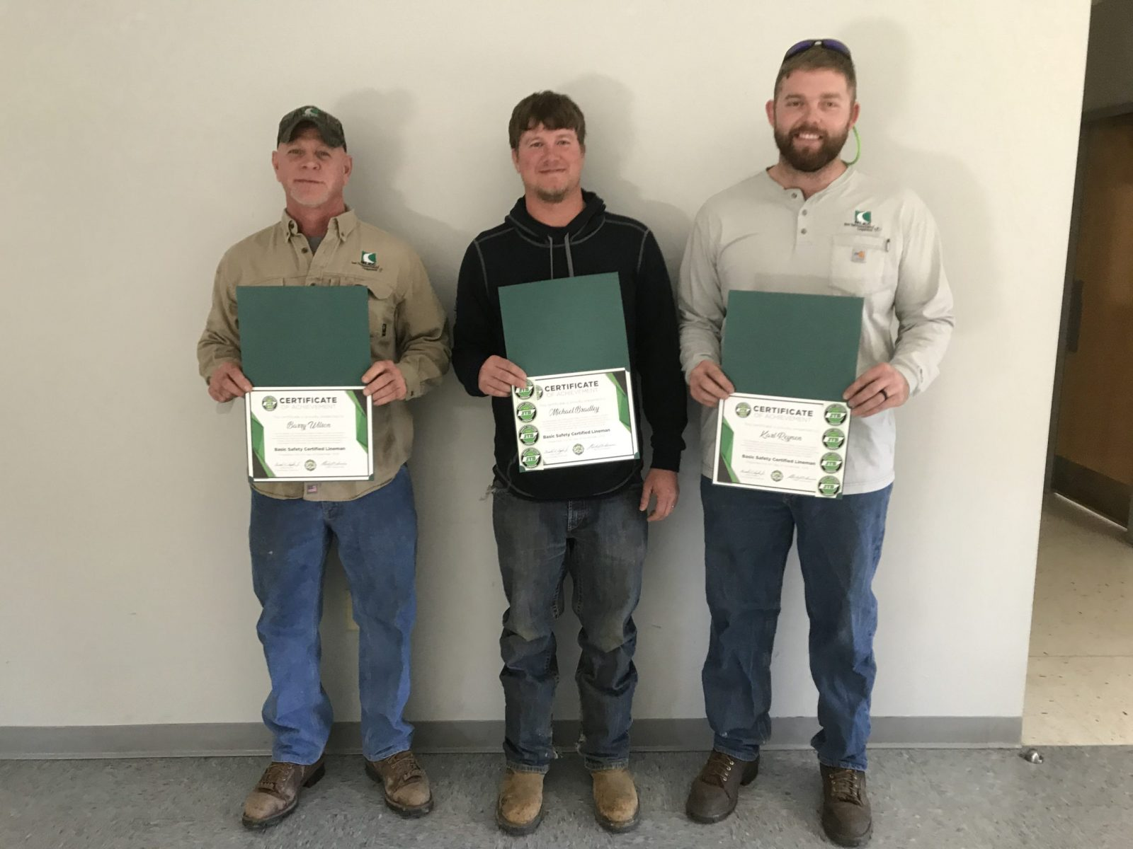 2019 Basic SCL Recipients Barry Wilson, Michael Bradley, and Karl Reynen from Meriwether Lewis Electric Cooperative