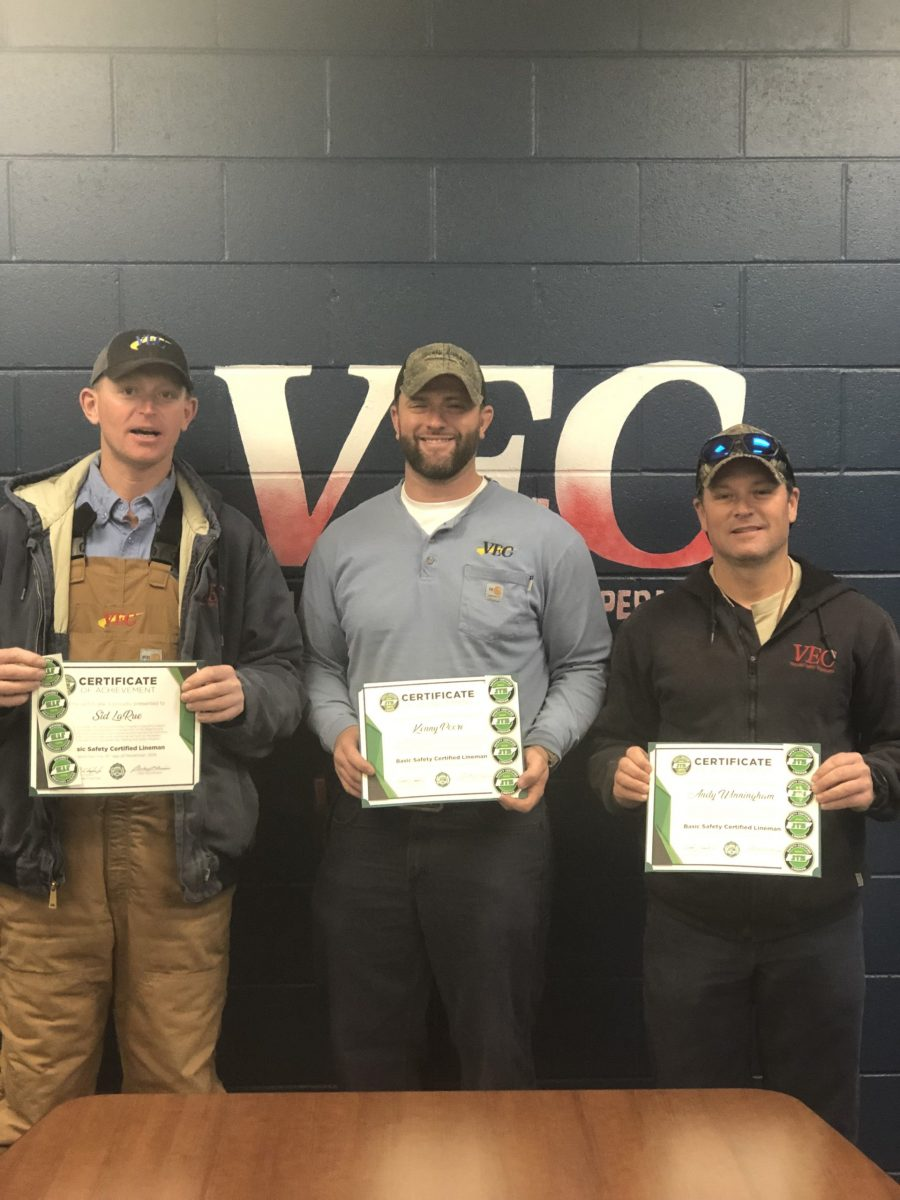 2019 Safety Certified Lineman Recipients Sid LaRue, Kenny Poore, and Andy Winningham with Volunteer Energy Cooperative